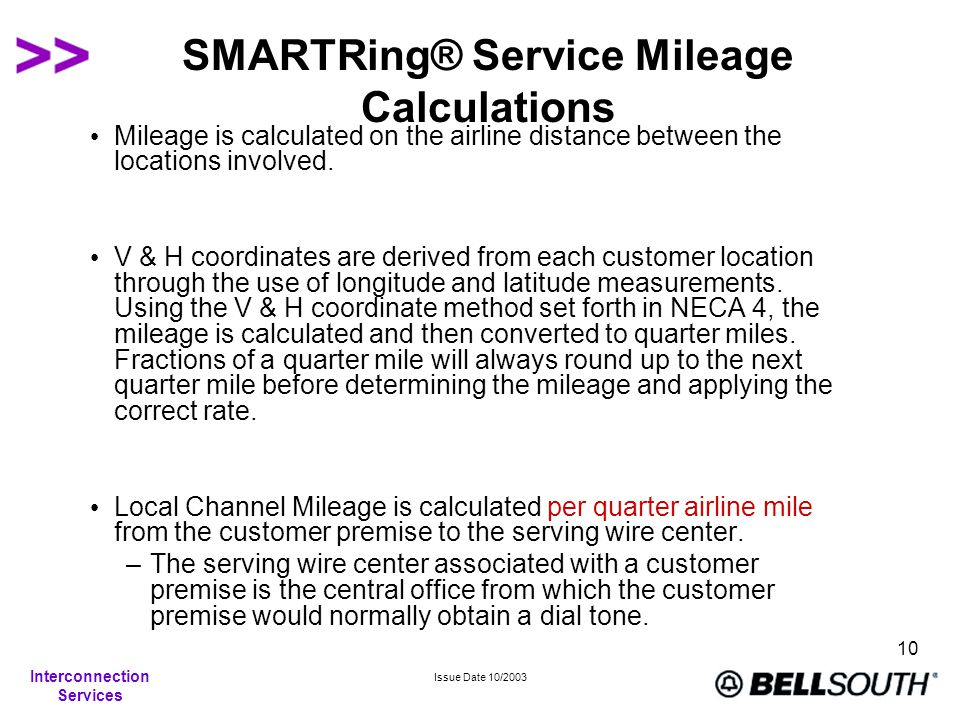 Interconnection Services Issue Date 10/2003 10 SMARTRing® Service Mileage Calculations Mileage is calculated on the airline distance between the locations involved.