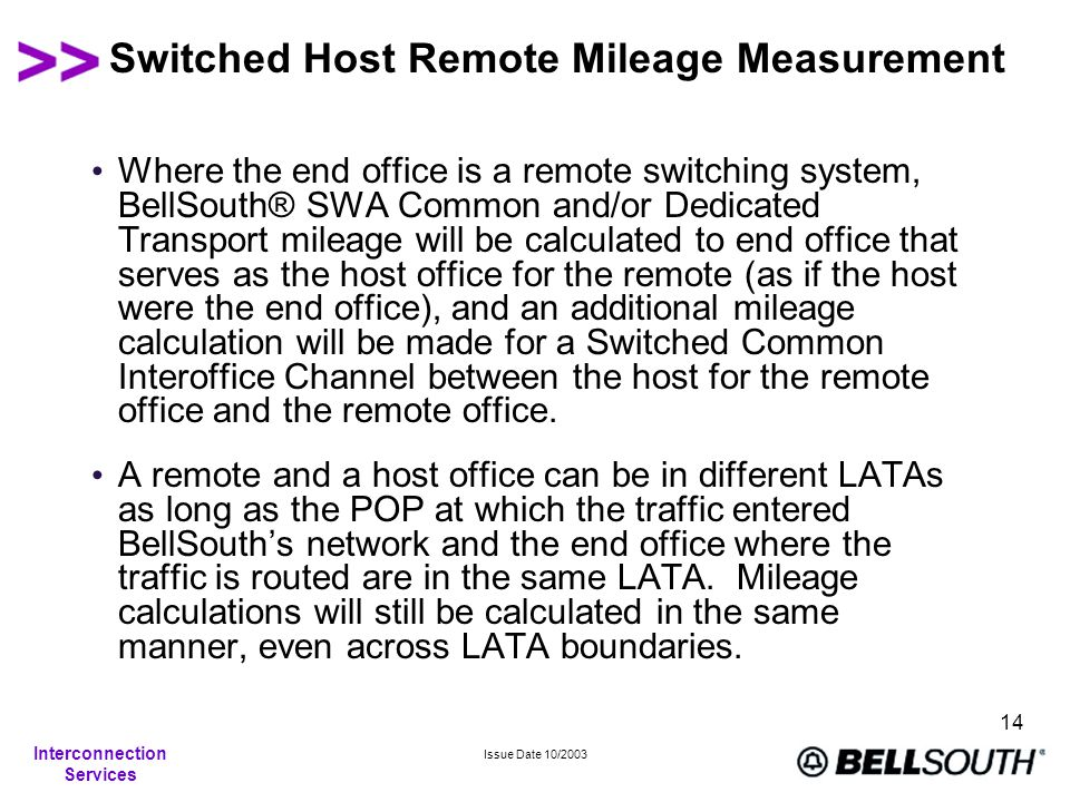 Interconnection Services Issue Date 10/2003 14 Switched Host Remote Mileage Measurement Where the end office is a remote switching system, BellSouth®