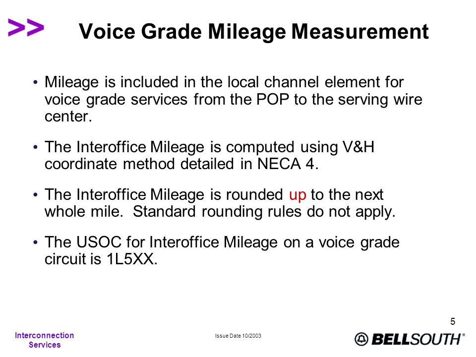 Interconnection Services Issue Date 10/2003 5 Voice Grade Mileage Measurement Mileage is included in the local channel element for voice grade service