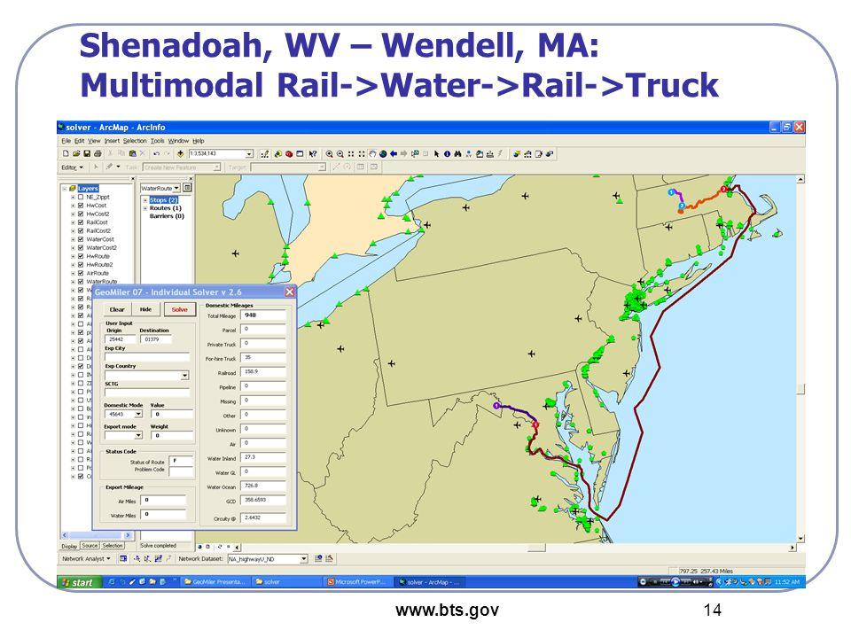 www.bts.gov 14 Shenadoah, WV – Wendell, MA: Multimodal Rail->Water->Rail->Truck