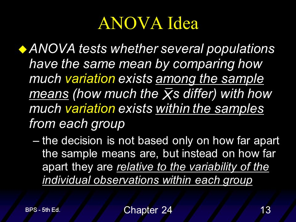 BPS - 5th Ed. Chapter 2413 u ANOVA tests whether several populations have the same mean by comparing how much variation exists among the sample means