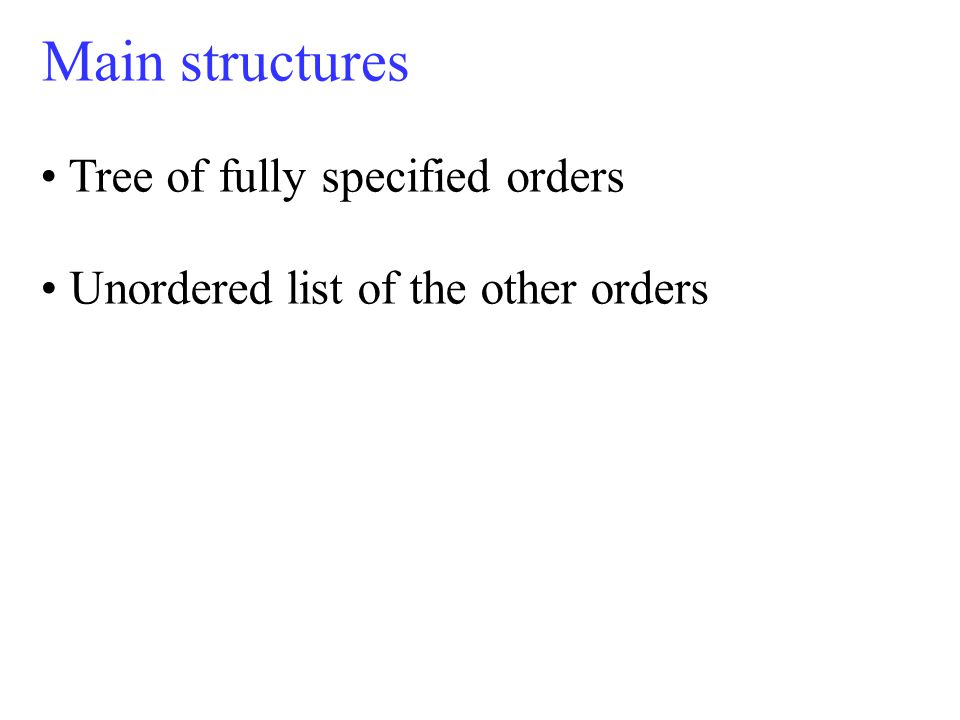 Main structures Tree of fully specified orders Unordered list of the other orders
