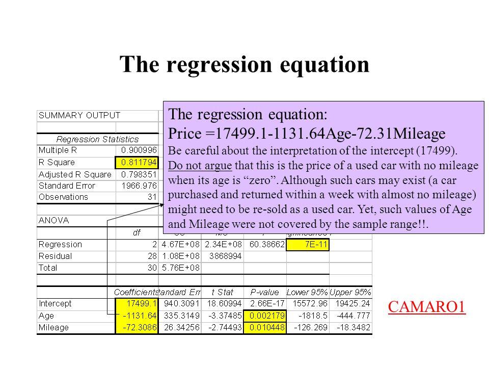 The regression equation The regression equation: Price =17499.1-1131.64Age-72.31Mileage Be careful about the interpretation of the intercept (17499).