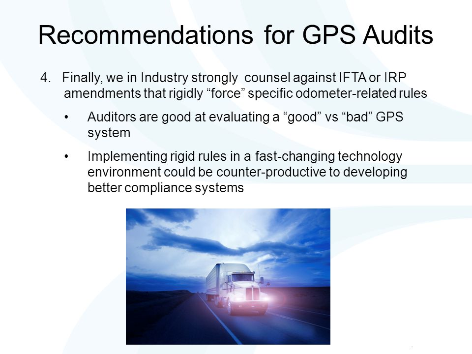 Recommendations for GPS Audits 4.
