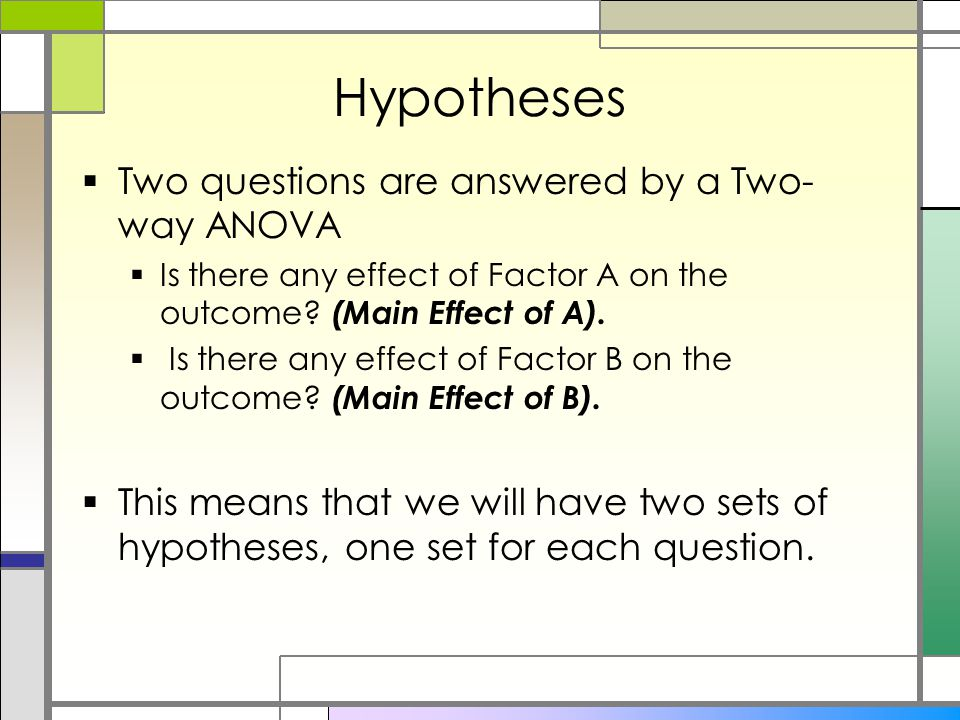 Hypotheses  Two questions are answered by a Two- way ANOVA  Is there any effect of Factor A on the outcome.