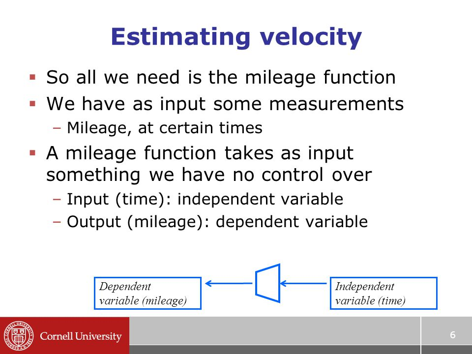 6 Estimating velocity  So all we need is the mileage function  We have as input some measurements –Mileage, at certain times  A mileage function ta