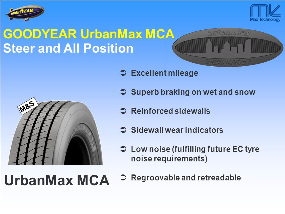 UrbanMax MCA GOODYEAR UrbanMax MCA Steer and All Position M&S  Excellent mileage  Superb braking on wet and snow  Reinforced sidewalls  Sidewall w