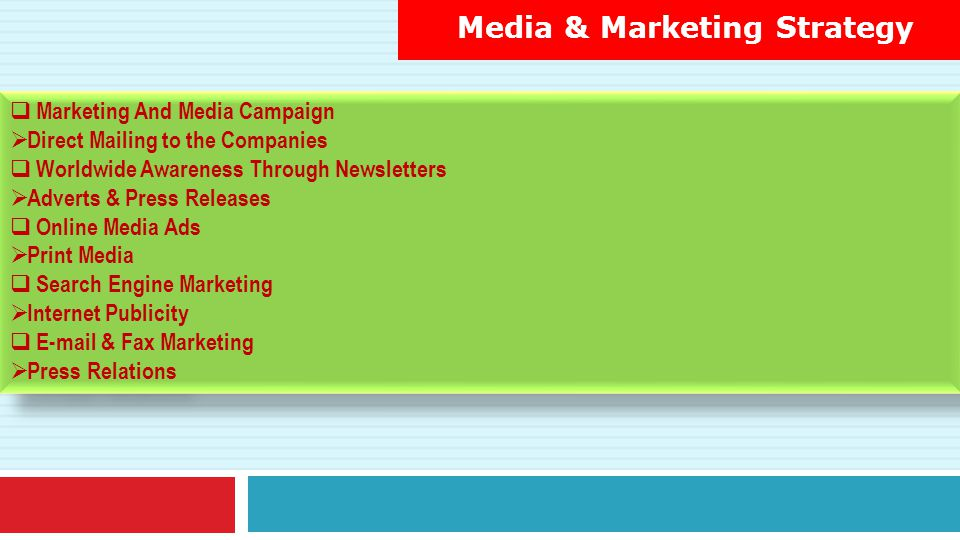 Media & Marketing Strategy  Marketing And Media Campaign  Direct Mailing to the Companies  Worldwide Awareness Through Newsletters  Adverts & Pres
