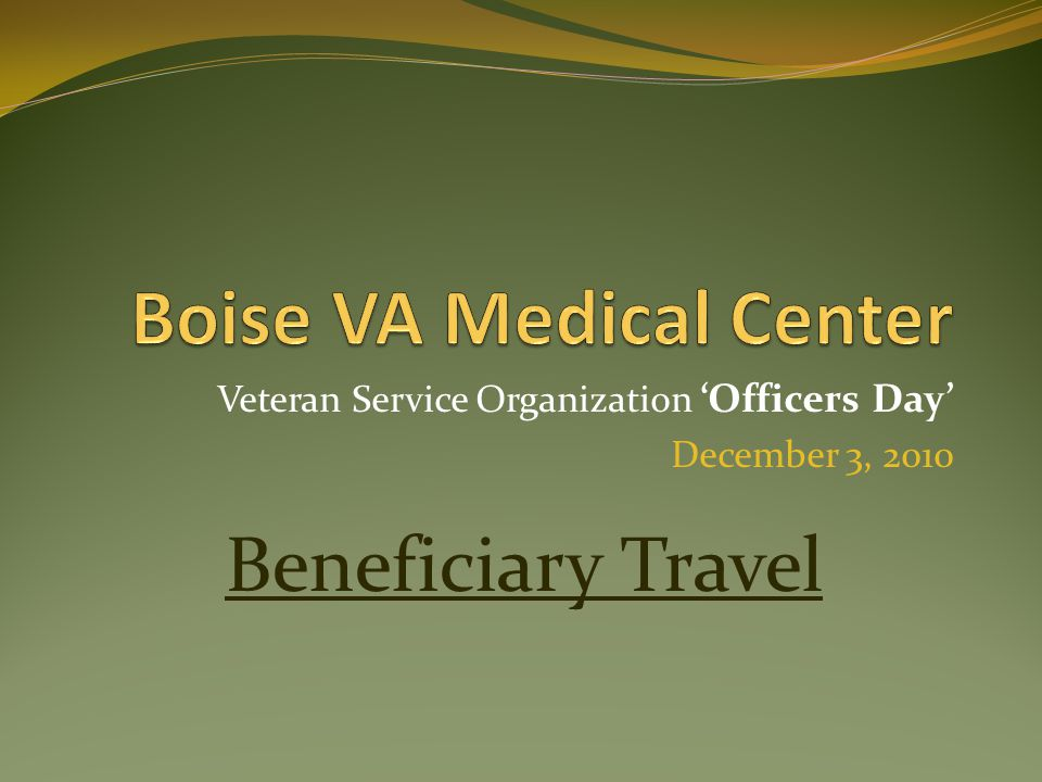 Veteran Service Organization 'Officers Day' December 3, 2010 Beneficiary Travel
