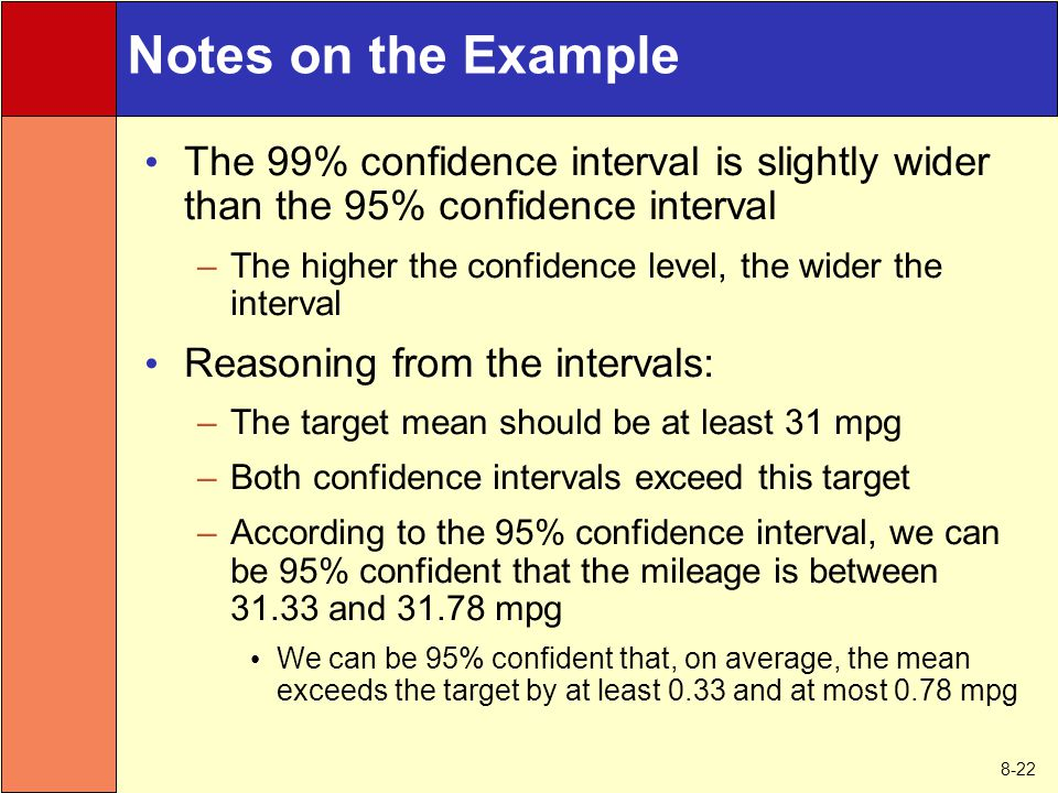 8-22 Notes on the Example The 99% confidence interval is slightly wider than the 95% confidence interval –The higher the confidence level, the wider t