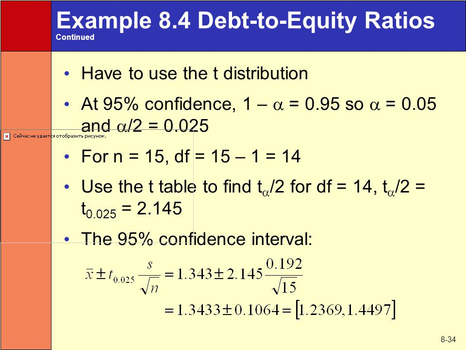 8-34 Example 8.4 Debt-to-Equity Ratios Continued Have to use the t distribution At 95% confidence, 1 –  = 0.95 so  = 0.05 and  /2 = 0.025 For n = 15, df = 15 – 1 = 14 Use the t table to find t  /2 for df = 14, t  /2 = t 0.025 = 2.145 The 95% confidence interval: