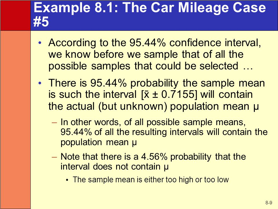 8-9 Example 8.1: The Car Mileage Case #5 According to the 95.44% confidence interval, we know before we sample that of all the possible samples that c