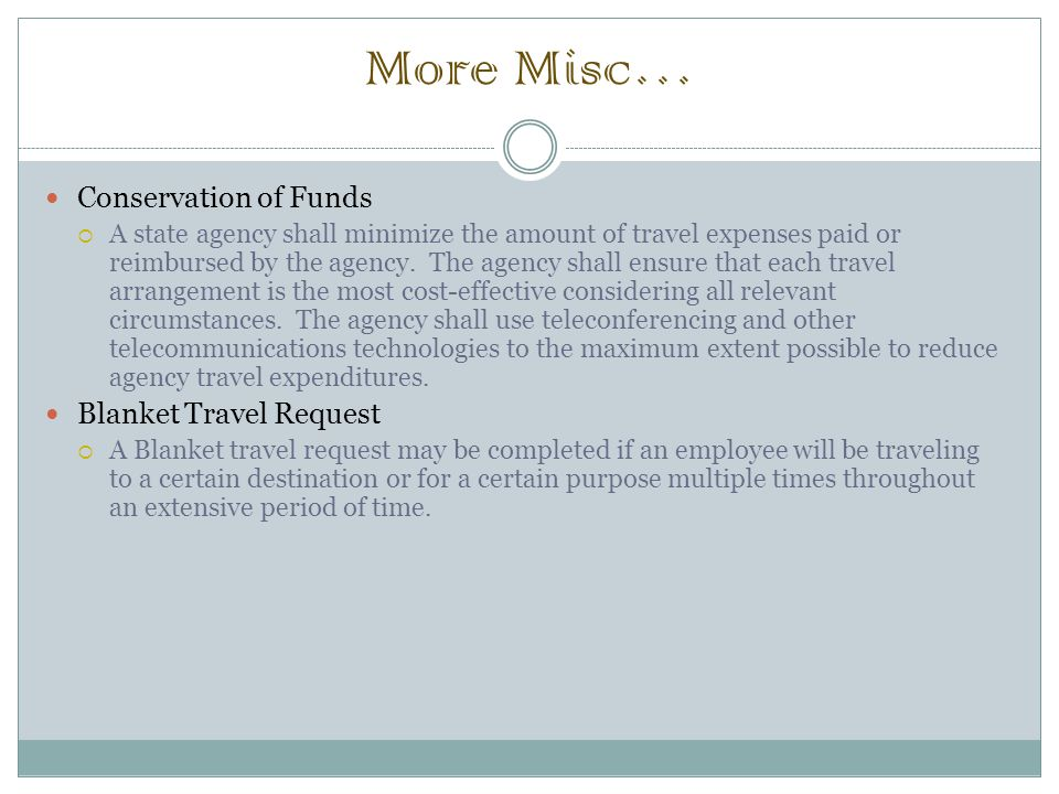 More Misc… Conservation of Funds  A state agency shall minimize the amount of travel expenses paid or reimbursed by the agency.