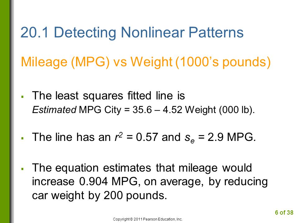 20.1 Detecting Nonlinear Patterns Residual Plot Easier to spot curved pattern in the residuals.