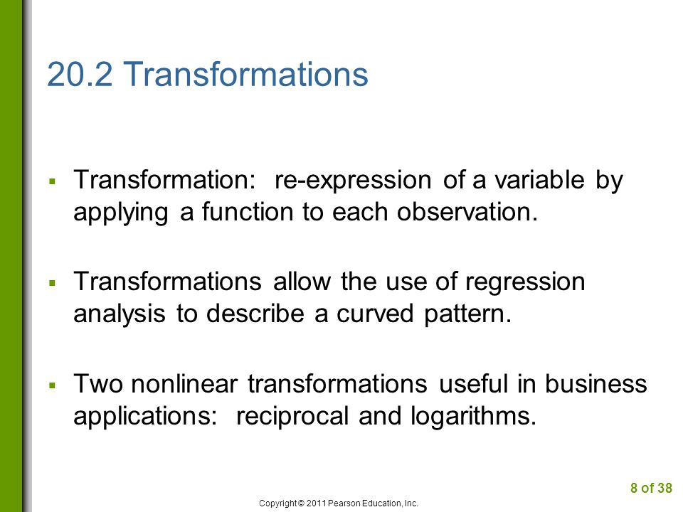 20.4 Logarithm Transformation Timeplots of Sales and Price of Pet Food Copyright © 2011 Pearson Education, Inc.