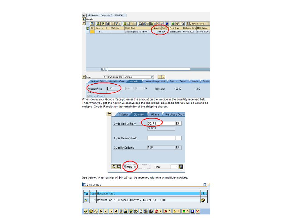 ME23N – MOST OF YOUR INFORMATION WILL BE FOUND ON THIS TRANSACTION SCREEN Look for a blue tab that is marked PO HISTORY and select it.