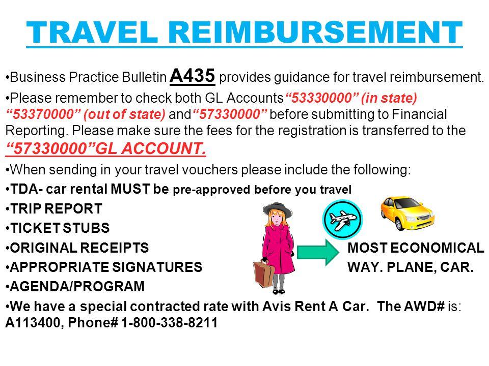 Business Practice Bulletin A435 provides guidance for travel reimbursement.