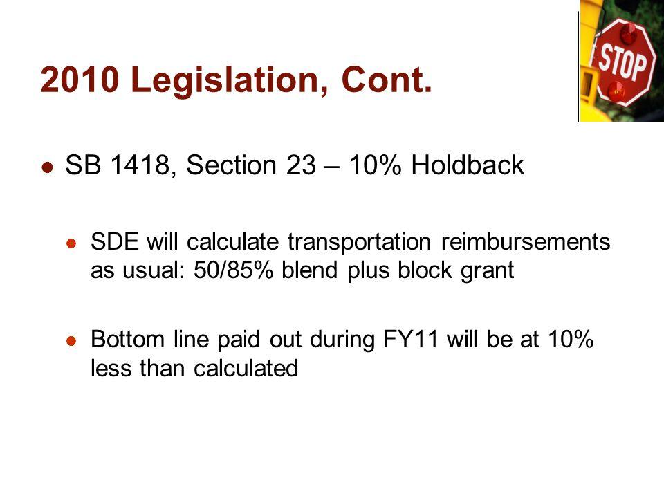 2010 Legislation, Cont. SB 1418, Section 23 – 10% Holdback SDE will calculate transportation reimbursements as usual: 50/85% blend plus block grant Bo