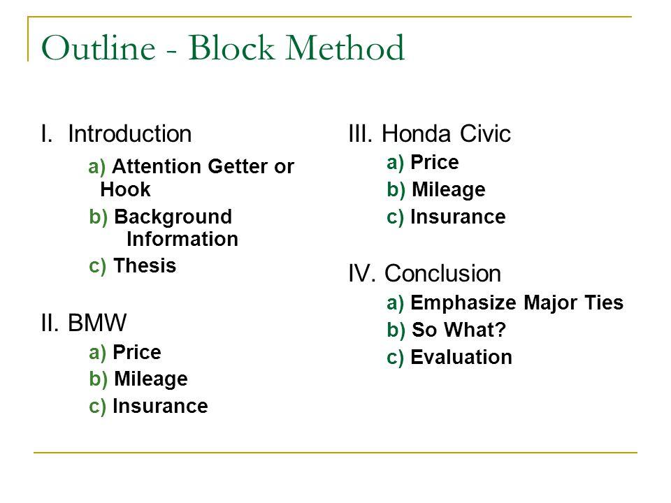 Outline - Block Method I.