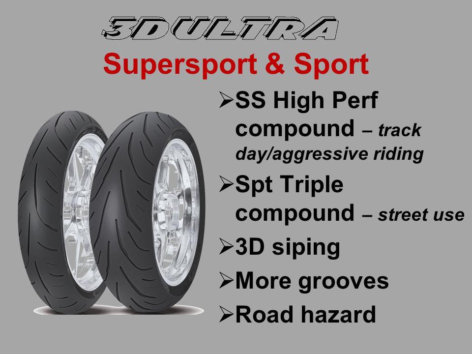 Tread Design w/3D Siping Xtreme frt/rearSupersport/Sport frt/rear