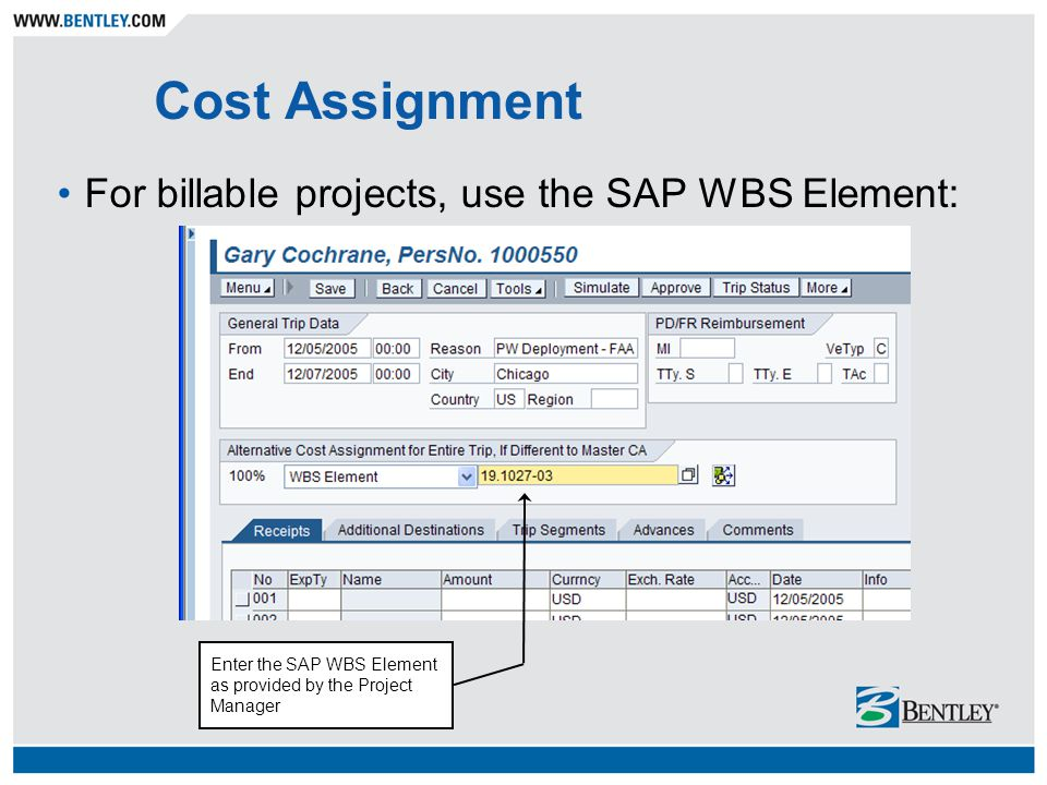 Cost Assignment For billable projects, use the SAP WBS Element: Enter the SAP WBS Element as provided by the Project Manager