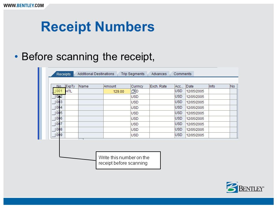 Receipt Numbers Before scanning the receipt, Write this number on the receipt before scanning