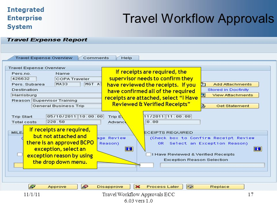 Integrated Enterprise System 11/1/11Travel Workflow Approvals ECC 6.03 vers 1.0 17 Travel Workflow Approvals If receipts are required, the supervisor needs to confirm they have reviewed the receipts.