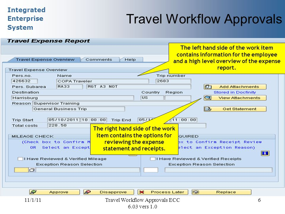 Integrated Enterprise System 11/1/11Travel Workflow Approvals ECC 6.03 vers 1.0 6 Travel Workflow Approvals The left hand side of the work item contains information for the employee and a high level overview of the expense report.