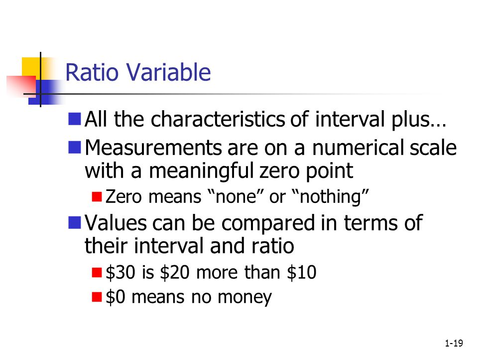 1-19 Ratio Variable All the characteristics of interval plus… Measurements are on a numerical scale with a meaningful zero point Zero means none or nothing Values can be compared in terms of their interval and ratio $30 is $20 more than $10 $0 means no money