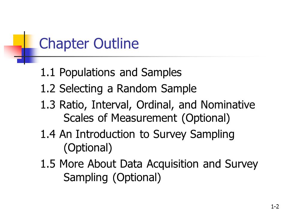 1-2 Chapter Outline 1.1 Populations and Samples 1.2 Selecting a Random Sample 1.3 Ratio, Interval, Ordinal, and Nominative Scales of Measurement (Optional) 1.4 An Introduction to Survey Sampling (Optional) 1.5 More About Data Acquisition and Survey Sampling (Optional)