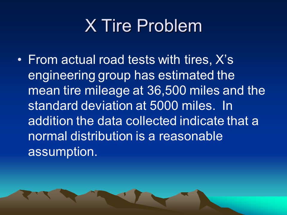 X Tire Problem Using the normal distribution, what percentage of the tires can be expected to last more than 40,000 miles.