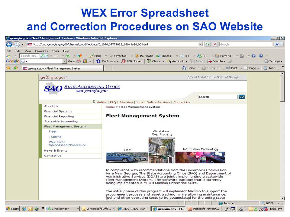 WEX Error Spreadsheet and Correction Procedures on SAO Website