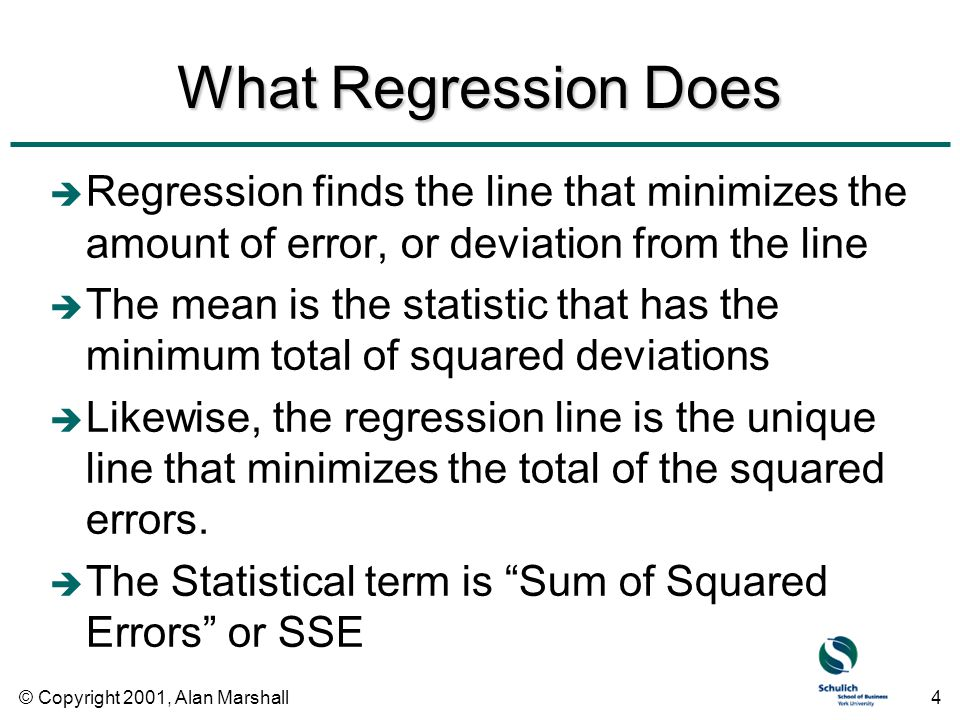 © Copyright 2001, Alan Marshall4 What Regression Does è Regression finds the line that minimizes the amount of error, or deviation from the line è The mean is the statistic that has the minimum total of squared deviations è Likewise, the regression line is the unique line that minimizes the total of the squared errors.