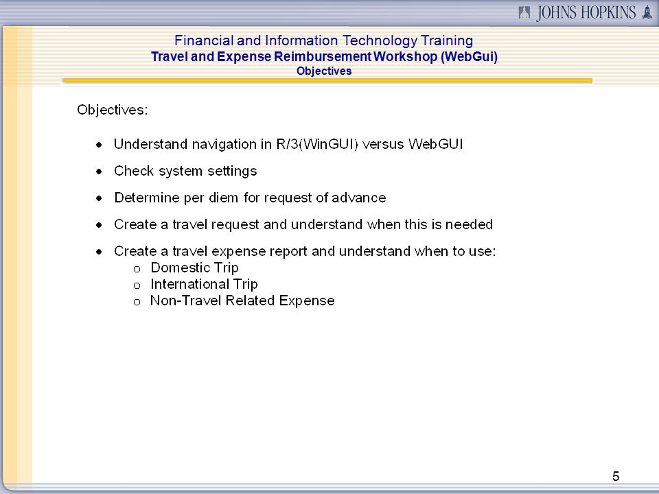Financial and Information Technology Training Travel and Expense Reimbursement Workshop (WebGui) 16 Lesson 2: Calculate Per Diem (Search for Country) To obtain the correct Per Diem, enter the Trip Country and Region.