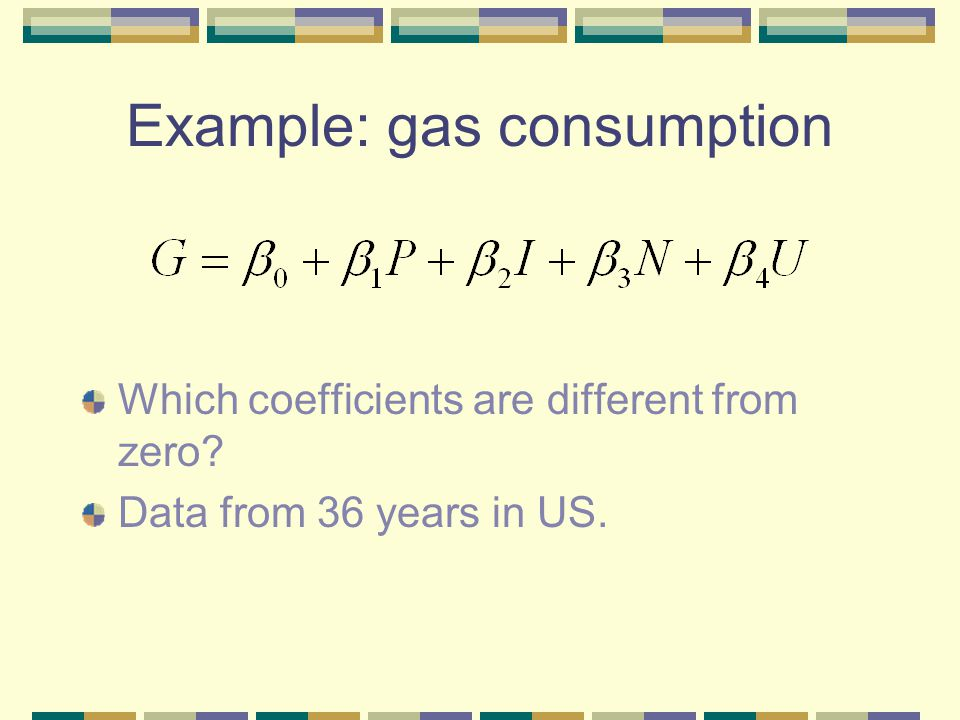 Example: gas consumption Which coefficients are different from zero Data from 36 years in US.