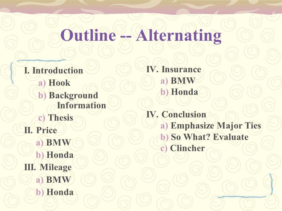 Outline -- Alternating I. Introduction a) Hook b) Background Information c) Thesis II. Price a) BMW b) Honda III. Mileage a) BMW b) Honda IV. Insuranc