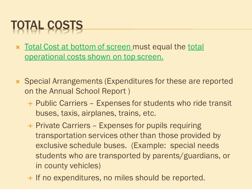  Total Cost at bottom of screen must equal the total operational costs shown on top screen.