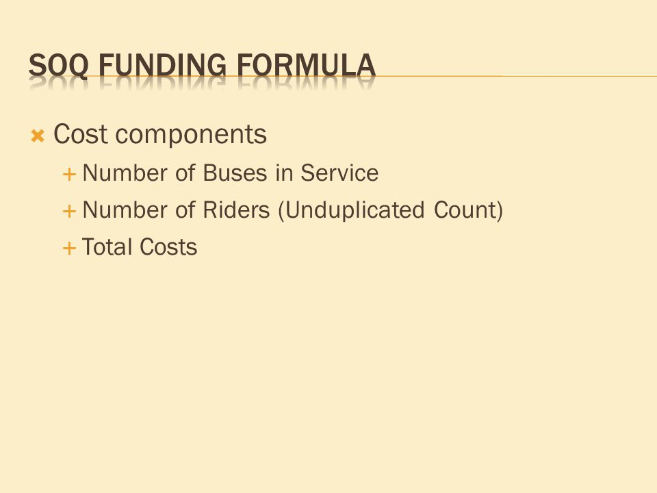  Cost components  Number of Buses in Service  Number of Riders (Unduplicated Count)  Total Costs