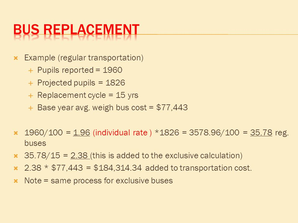  Example (regular transportation)  Pupils reported = 1960  Projected pupils = 1826  Replacement cycle = 15 yrs  Base year avg. weigh bus cost = $