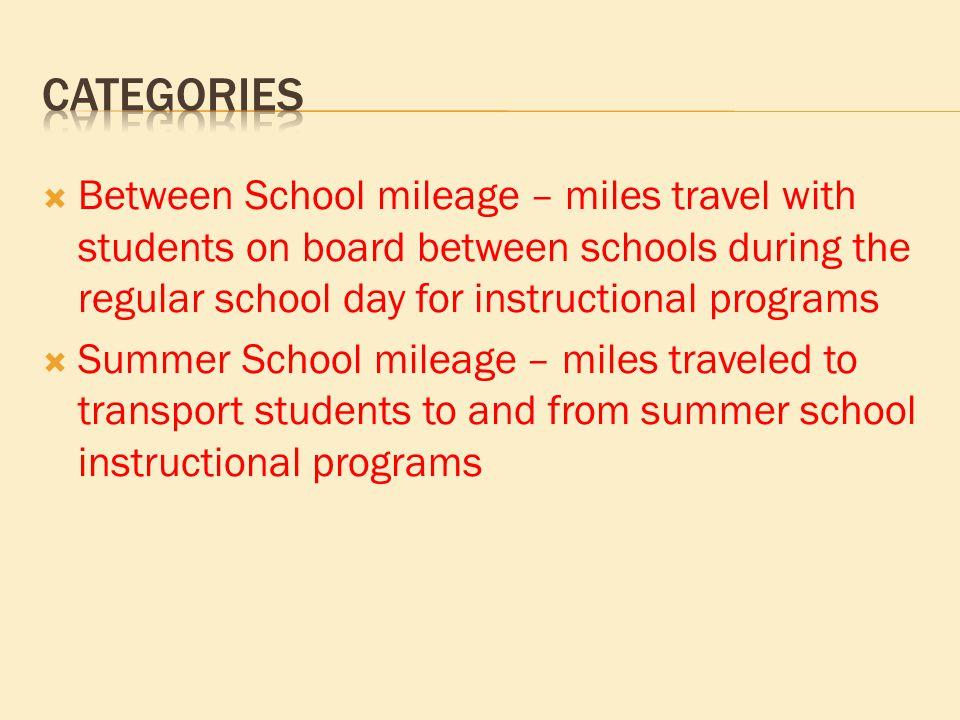  Between School mileage – miles travel with students on board between schools during the regular school day for instructional programs  Summer Schoo