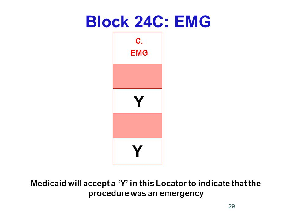 C. EMG Block 24C: EMG Medicaid will accept a 'Y' in this Locator to indicate that the procedure was an emergency 29 Y Y