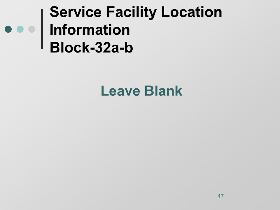 47 Service Facility Location Information Block-32a-b Leave Blank