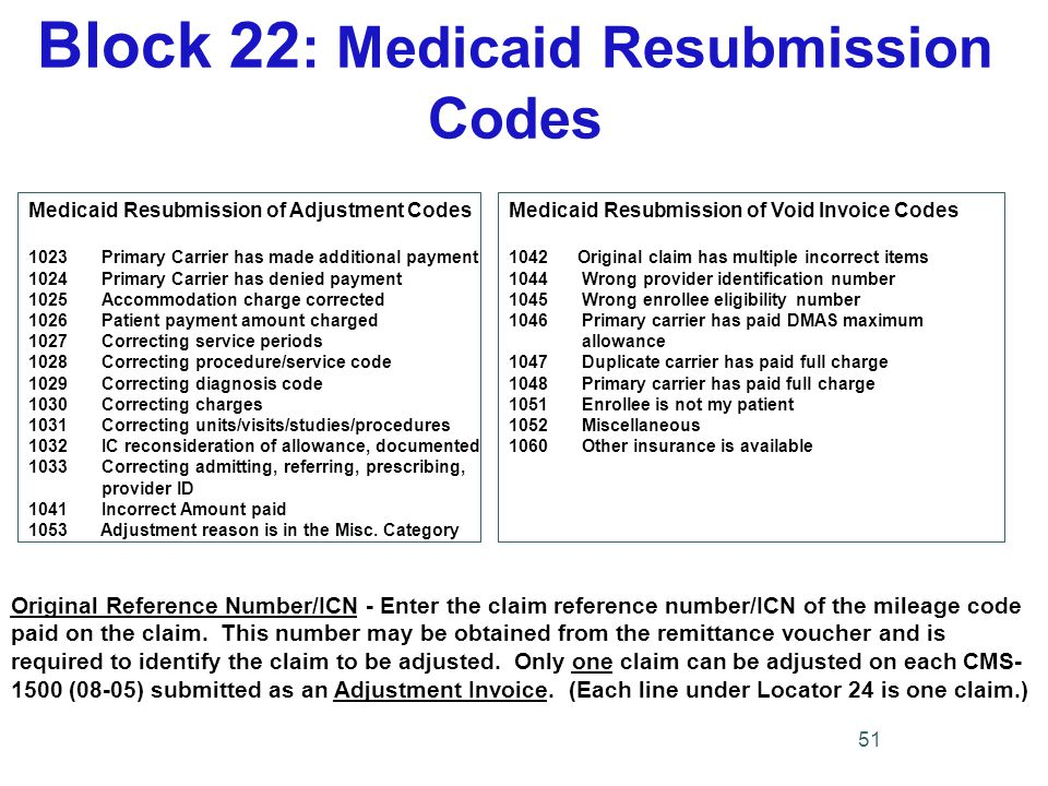 Block 22 : Medicaid Resubmission Codes Original Reference Number/ICN - Enter the claim reference number/ICN of the mileage code paid on the claim.