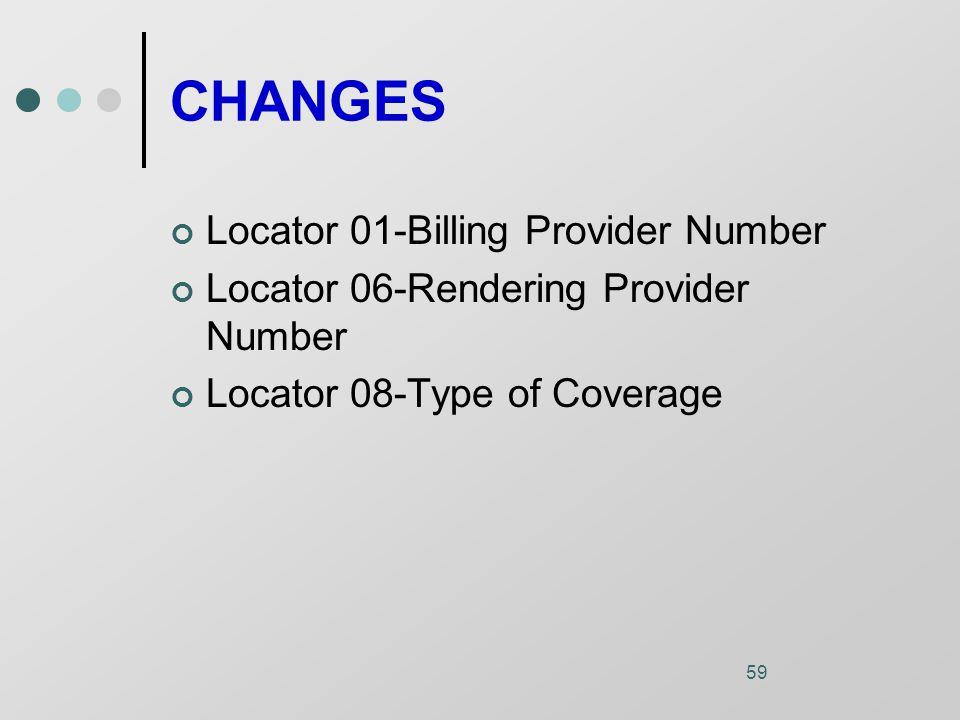 59 CHANGES Locator 01-Billing Provider Number Locator 06-Rendering Provider Number Locator 08-Type of Coverage