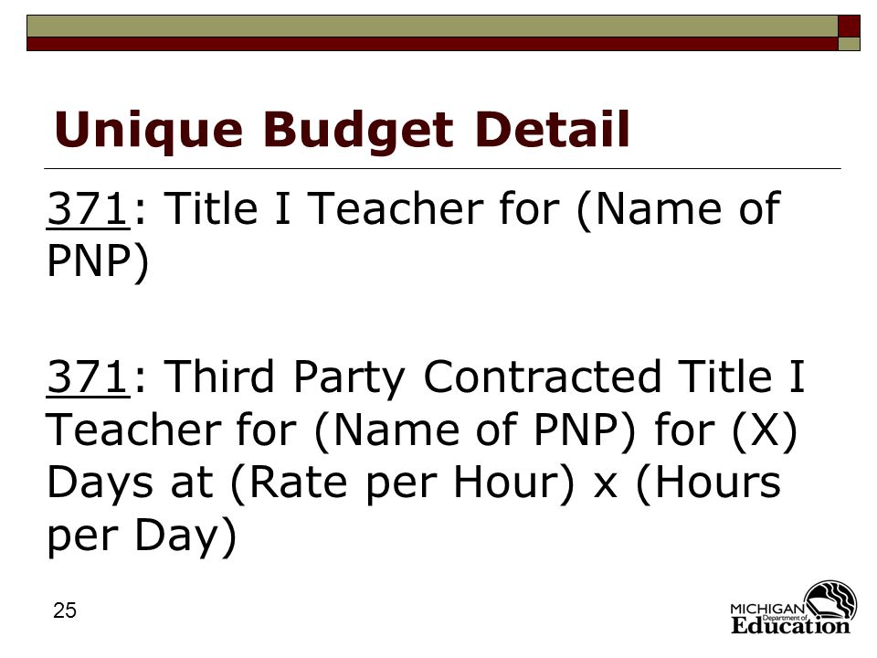 25 Unique Budget Detail 371: Title I Teacher for (Name of PNP) 371: Third Party Contracted Title I Teacher for (Name of PNP) for (X) Days at (Rate per Hour) x (Hours per Day)