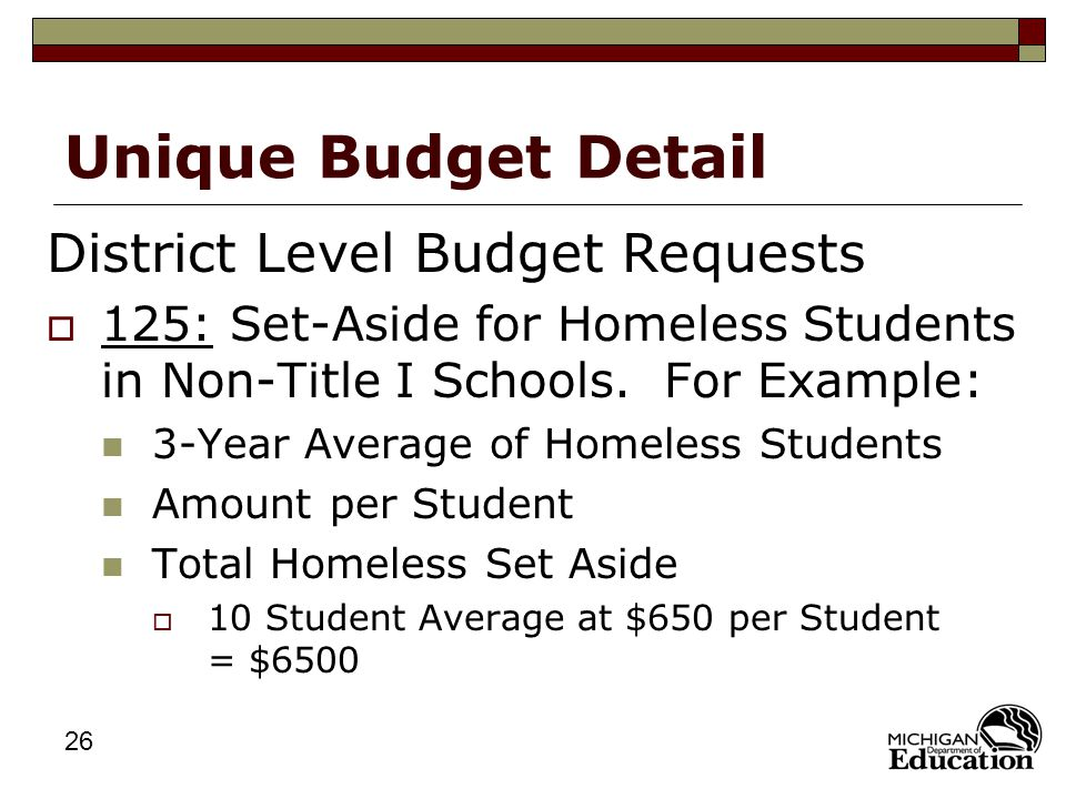 26 Unique Budget Detail District Level Budget Requests  125: Set-Aside for Homeless Students in Non-Title I Schools.