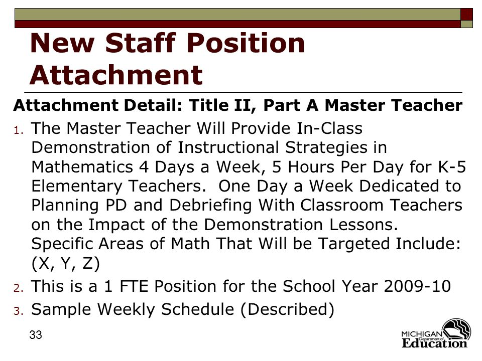 33 New Staff Position Attachment Attachment Detail: Title II, Part A Master Teacher 1.