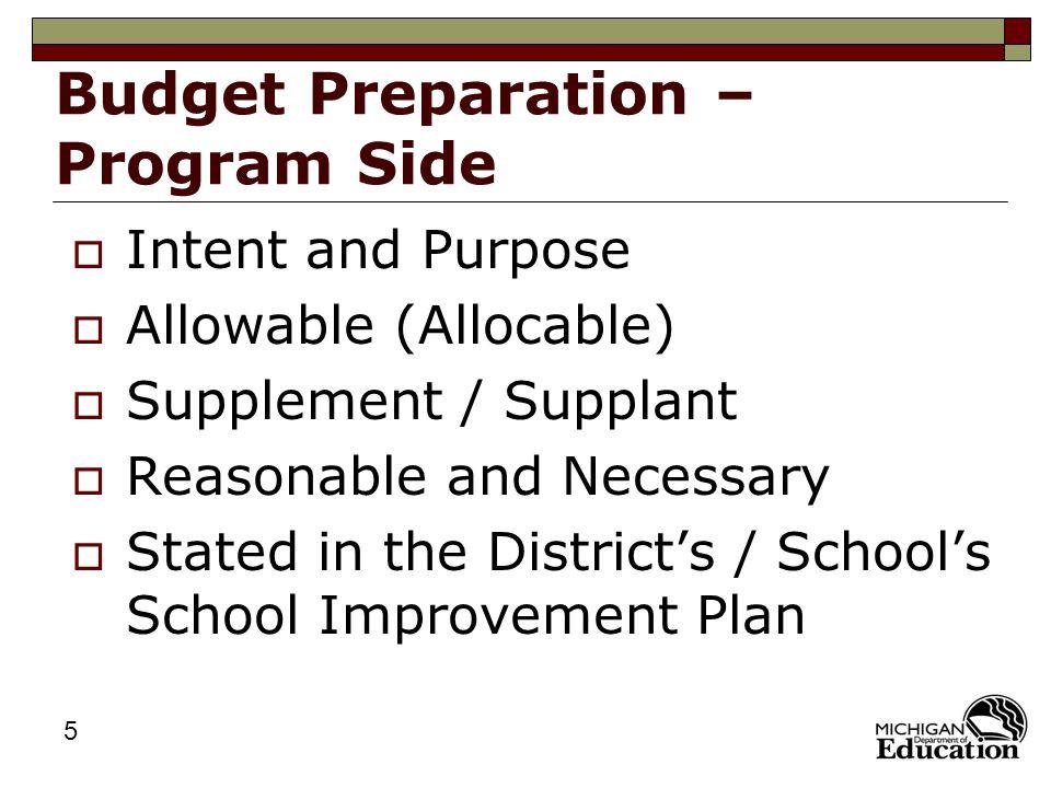 6 Budget Preparation – Program Side  Write the Budget Detail Items