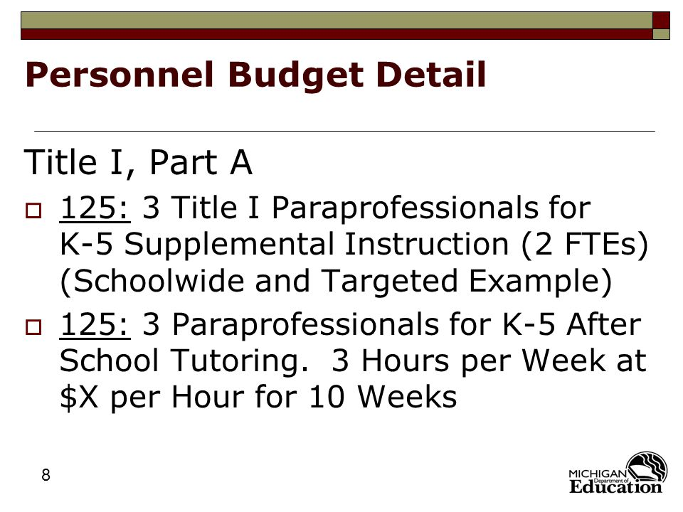 8 Personnel Budget Detail Title I, Part A  125: 3 Title I Paraprofessionals for K-5 Supplemental Instruction (2 FTEs) (Schoolwide and Targeted Example)  125: 3 Paraprofessionals for K-5 After School Tutoring.