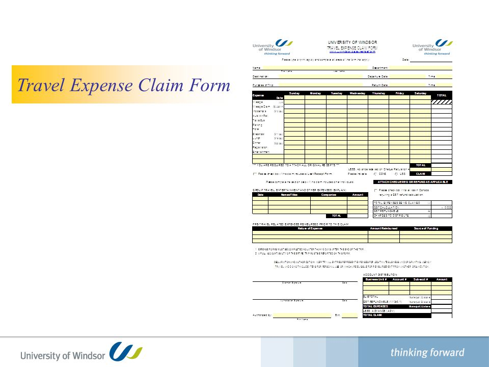 Travel Expense Claim Form Finance Department